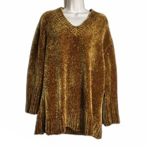 ZARA Knit Small Brown Mustard Sweater Chenille